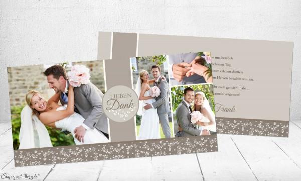 Danksagungskarte Hochzeit taupe