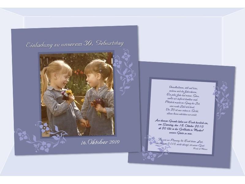 einladung 40. geburtstag, flachkarte 12,5x12,5 cm, blau, Einladungsentwurf