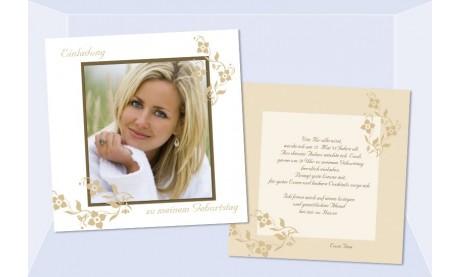 Einladung 35. Geburtstag, Flachkarte 12,5x12,5 cm, creme