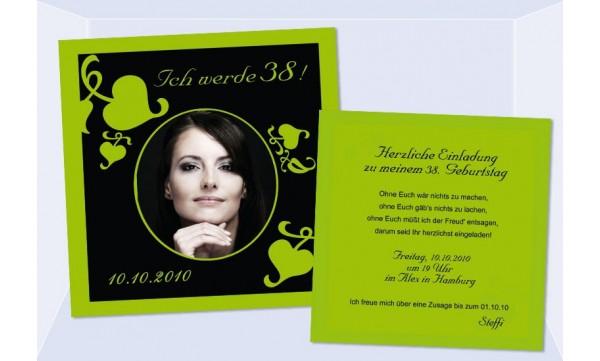 Einladung 38. Geburtstag, Flachkarte 12,5x12,5 cm, schwarz grün