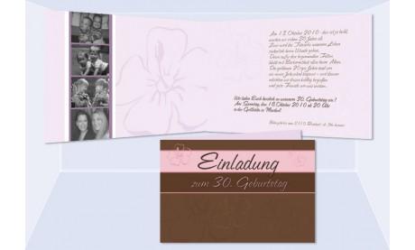 Einladung 30. Geburtstag, Klappkarte 10x15 cm, braun rosa