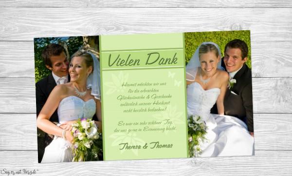 Fotokarten Dankeskarte Hochzeit grün