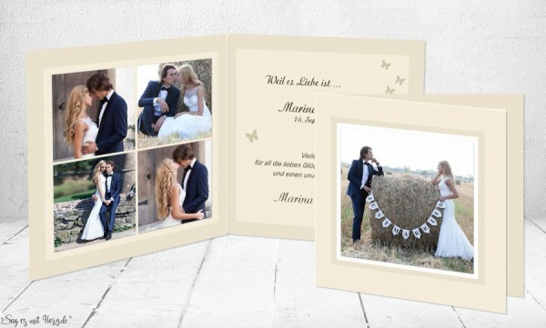 Dankeskarten Hochzeit Klappkarte