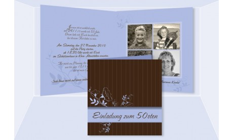Einladung 50. Geburtstag, Klappkarte 12,5x12,5 cm, braun hellblau