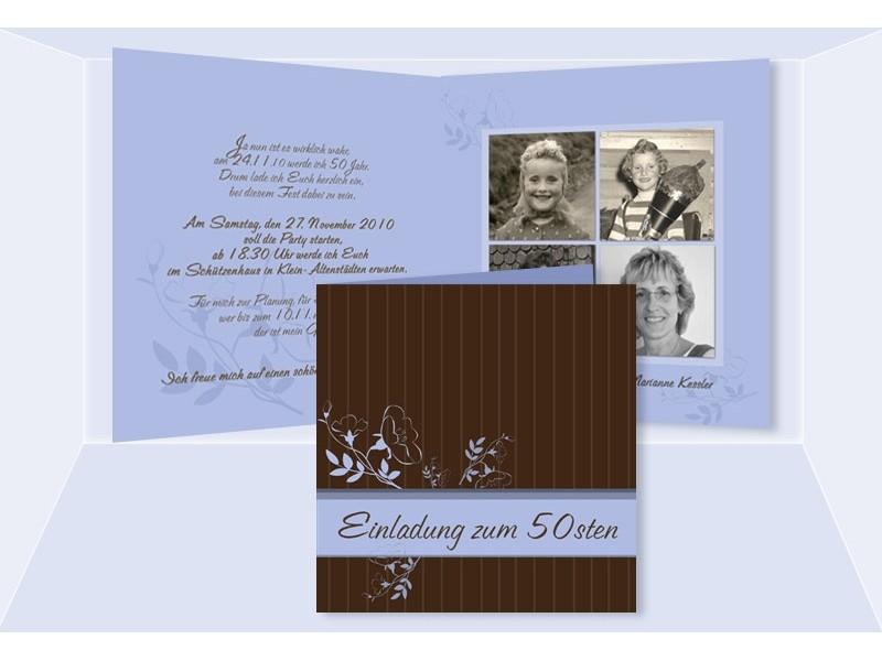 einladung 50. geburtstag, klappkarte 12,5x12,5 cm, braun hellblau, Einladung