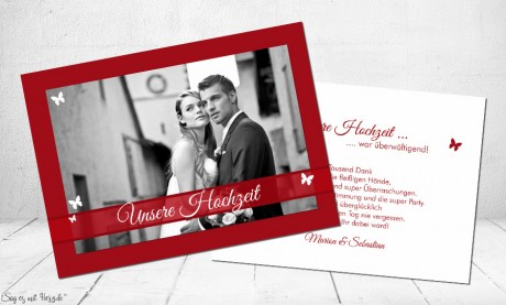 Dankeskarten Hochzeit rot