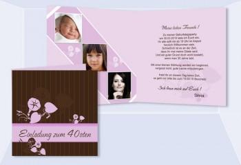 Einladung 40. Geburtstag, Klappkarte 12,5x12,5 cm, braun rosa