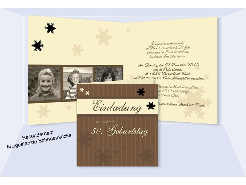 einladung 50. geburtstag, klappkarte 12,5x12,5 cm, braun creme, Einladung