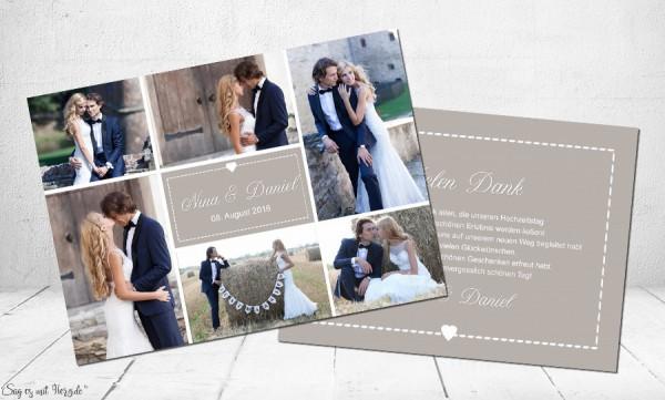 Dankeskarte Hochzeit taupe