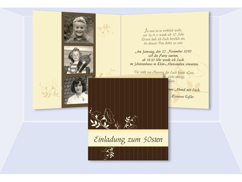 Einladung 50. Geburtstag, Klappkarte 12,5x12,5 Cm, Braun Creme