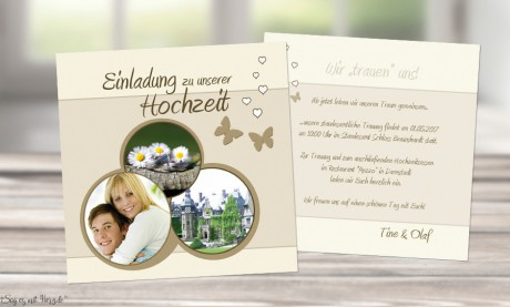 Einladungskarten Hochzeit quadratisch