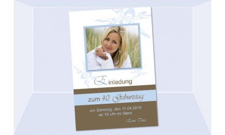 Einladung 40. Geburtstag, Fotokarte 10x15 cm, braun hellblau