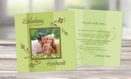 Einladungskarte Hochzeit grün, quadratisch