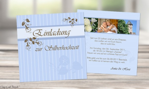 Karte Goldene Hochzeit Silberhochzeit Einladungskarte Quadrat