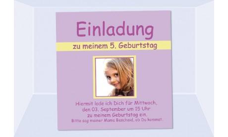 "Einladung Kindergeburtstag ""Soe"", Fotokarte 10x10 cm, flieder"