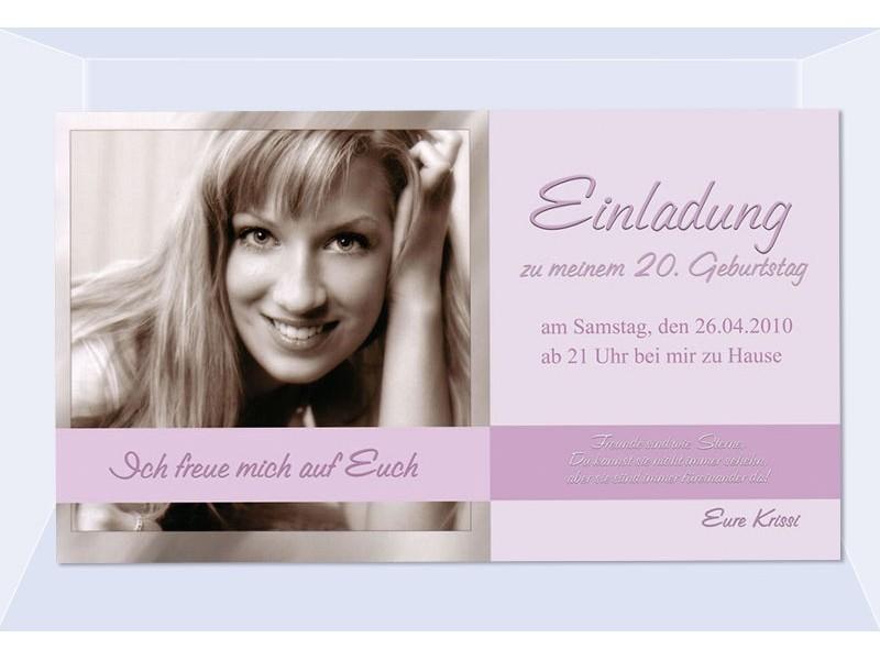 einladung 20. geburtstag, fotokarte 10x18 cm, rosa, Einladungsentwurf