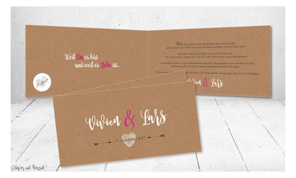 Einladung Hochzeit Vintage Kraftpaoier