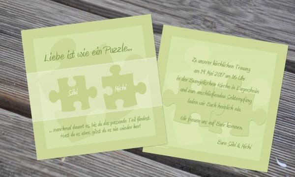 Einladungskarten Hochzeit Puzzle grün