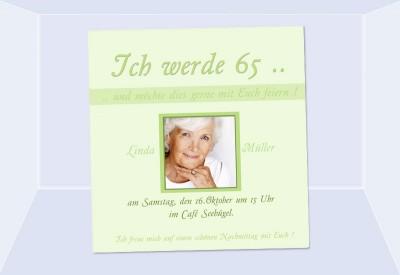 einladung 65. geburtstag, fotokarte 10x10 cm, hellgrün