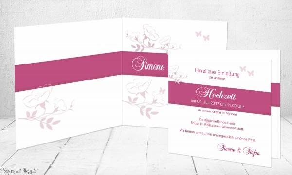 Einladungskarte Hochzeit Kirschblüte, weiß pink
