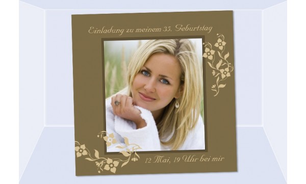 Einladung 35. Geburtstag, Fotokarte 12,5x12,5 cm, braun