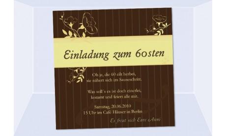 Einladung 60. Geburtstag, Fotokarte 12,5x12,5 cm, braun