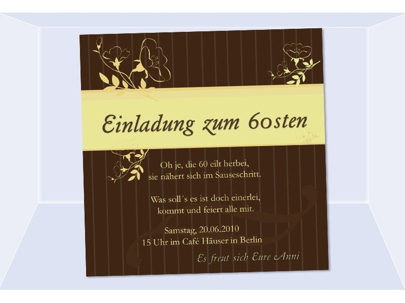 einladung 60 geburtstag fotokarte 12 5x12 5 cm braun. Black Bedroom Furniture Sets. Home Design Ideas