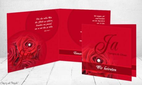 Einladungskarte Hochzeit rot