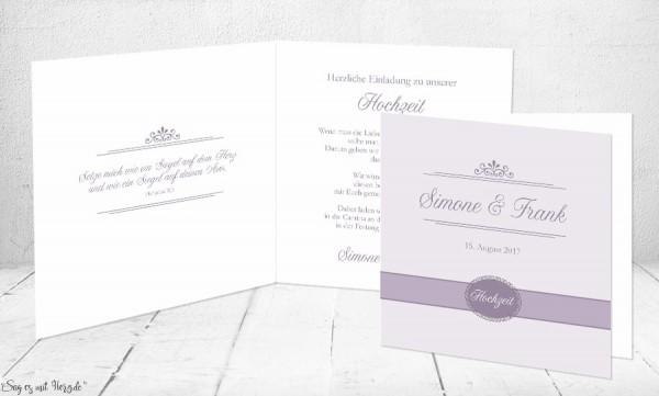 Einladungskarte Hochzeit flieder Klappkarte Quadrat