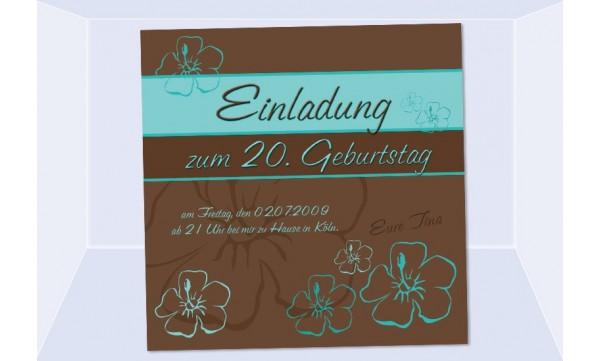 Einladung 20. Geburtstag, Fotokarte 12,5x12,5 cm, braun türkis