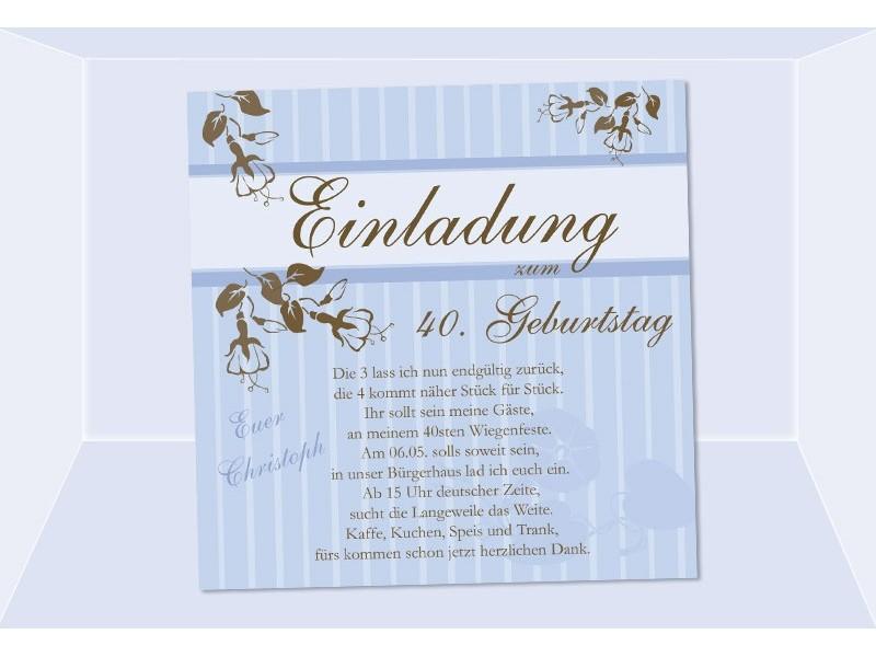 Einladung 40. Geburtstag, Fotokarte 12,5x12,5 cm, hellblau