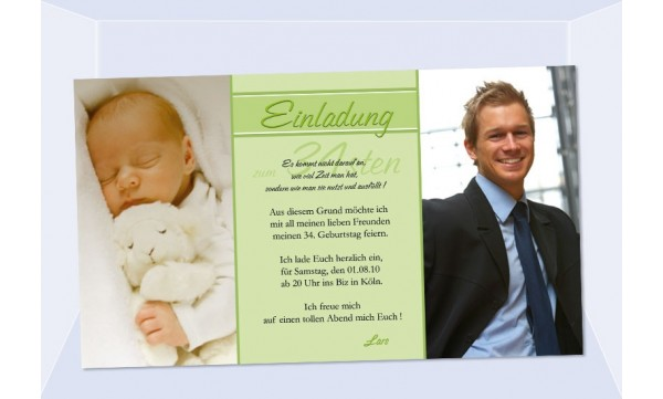 Einladung 34. Geburtstag, Fotokarte 10x18 cm, grün