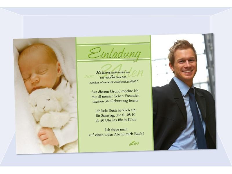 Einladung 30. Geburtstag, Fotokarte, Einladungskarten, grün