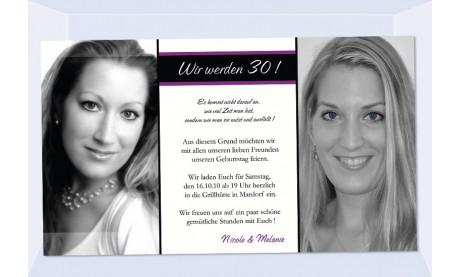 Einladung 30. Geburtstag, Fotokarte 10x18 cm, weiß schwarz