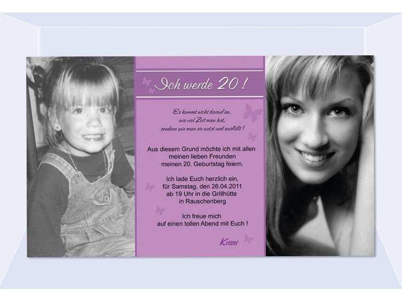 Einladung 20. Geburtstag, Fotokarte 10x18 Cm, Altrosa
