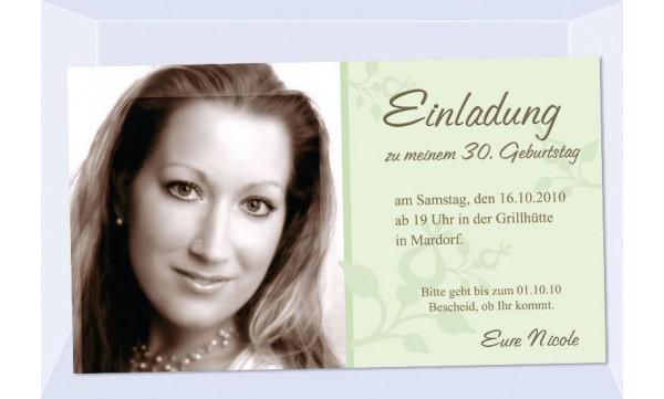 Einladung 30. Geburtstag, Fotokarte 10x18 cm, grün
