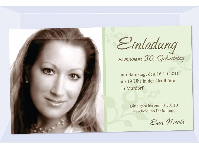 Einladung 30 Geburtstag Fotokarte Einladungskarten Grun