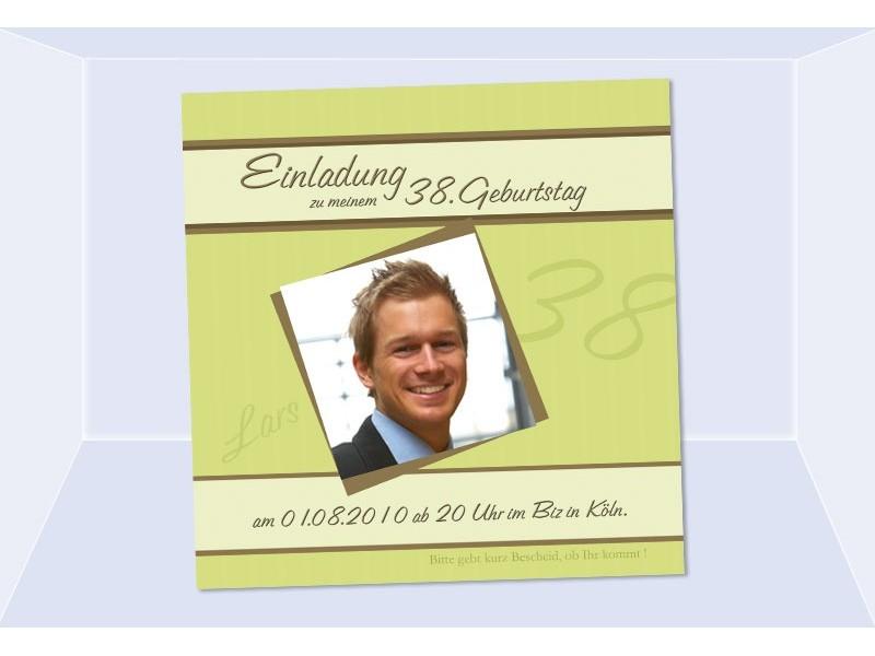 Einladung 65. Geburtstag, Fotokarte, Einladungskarten, Grün, Einladungs