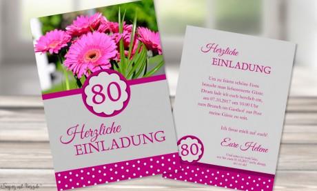 Einladungskarten 80. Geburtstag