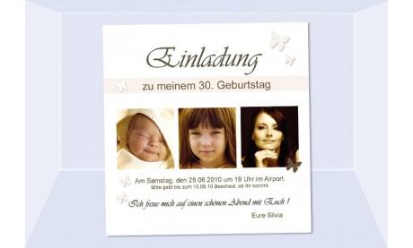 Einladung 30. Geburtstag, Fotokarte 10x10 cm, weiß creme