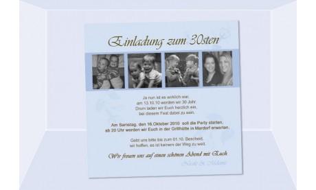 Einladung 30. Geburtstag, Fotokarte 12,5x12,5 cm, hellblau