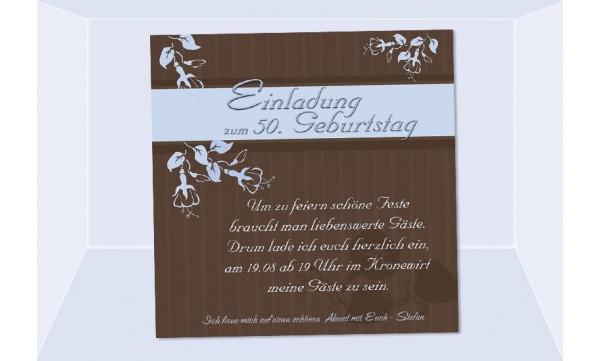 Einladung 50. Geburtstag, Fotokarte 12,5x12,5 cm, braun hellblau