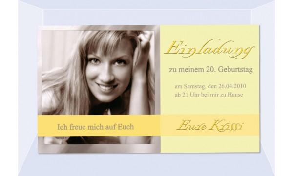 Einladung 20. Geburtstag, Fotokarte 10x18 cm, gelb