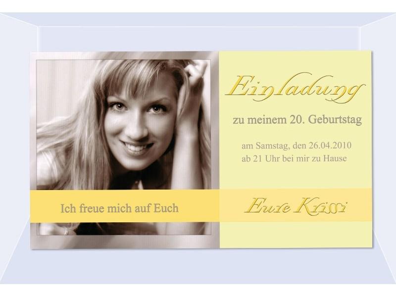 einladung 20. geburtstag, fotokarte, einladungskarten, gelb, Einladungsentwurf