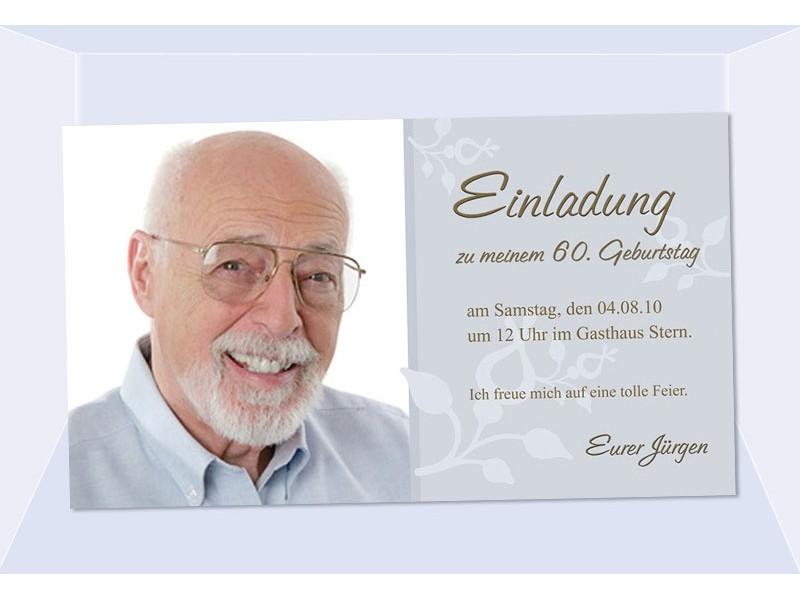 Einladung 60. Geburtstag, Fotokarte, Einladungskarten, grau