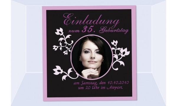 Einladung 35. Geburtstag, Fotokarte 12,5x12,5 cm, schwarz pink