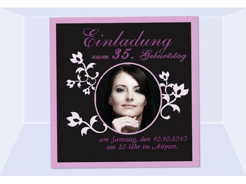 einladung 35. geburtstag, fotokarte, einladungskarten, schwarz pink, Einladung