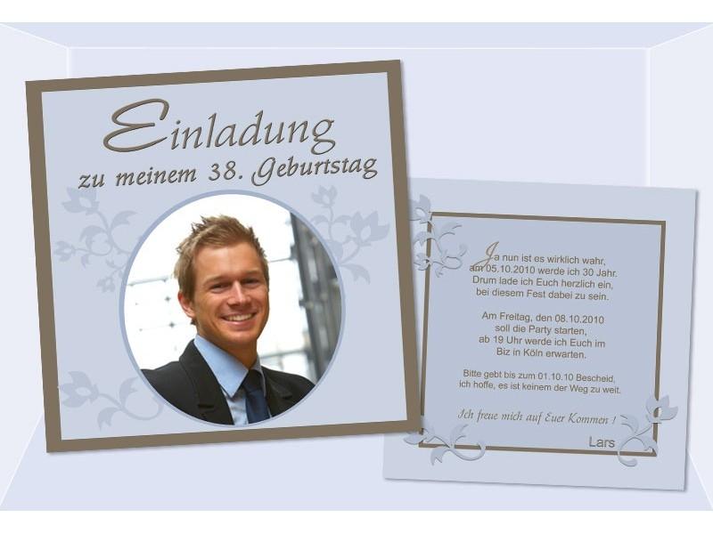 Einladung 38 Geburtstag Flachkarte 12 5x12 5 Cm Braun Hellblau
