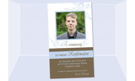 Einladung Kommunion / Konfirmation, Einladungskarte, 10x18 cm, braun hellblau