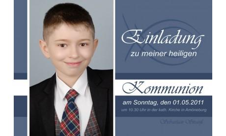 Einladung Kommunion / Konfirmation, Fotokarte 10x15 cm, blau